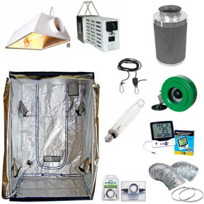 4 x 8 Air Cooled 2000w Budget Grow Room Package *DISCONTINUED* This Grow Room Package is great for growers who have a 4' x 8' space and are looking for an inexpensive, high-yield grow room. This package includes everything you need to start a grow room excluding your nutrients and hydroponic and/or soil medium. Components of the Budget Grow Room Package are: Light House 4' x 8' Indoor Greenhouse (2) 6  Air Cooled Reflector by Hydrofarm (2) SG Lite 1000w Switchable MH/HPS Ballast (2) Maxlume 1000w H.P.S. Bulb Active Air 6  Inline Fan 400 CFM Phresh Carbon Filter 6  x 16  400 CFM Ideal Air Silver Ducting 6  x 25' (3) 6  Stainless Steel Duct Clamps - Pair (3) Grow Crew 1/8  Ratchet Light Hangers - Pair Ecoplus Large Display Thermometer/Hygrometer (2) Titan Controls Apollo 8 Analog 24 Hr Timer (2) 6  Clip On Fan Light House 4' x 8' Indoor Grow Tent The Lighthouse offers features normally found on more expensive huts. With 3 sizes available to fit your specific growing needs, the Lighthouse will let you grow bigger, taller crops throughout the year. All Lighthouse models feature:• .8mm steel poles, powder-coated white• Strong, plastic molded corners• Premium quality zippers, same as used on more expensive units• Duct ports - 5 on smaller tents, 6 on 4x8 tent• Roll up rear door with straps to keep the doors open• Duct ports with twin socks, no flanges necessary• Waterproof double layered floor• Inner lining is 500 D canvas material with dimpled metallic.... the same as premium units. 6  Air Cooled Reflector by Hydrofarm This value reflector offers excellent performance at a cost effective price. Solidly built, compatible with all Hydrofarm ballasts, and priced to fit any budget. Bright & broad light delivery Super air coolable Built in 6  flanges Low profile design Highly reflective specular aluminum Built in socket & cord set Completely sealed removable lens system for easy bulb exchange CSA certified Reflector Size: 8 H X 21 W x 23-3/4 LAccepts: Sodium 250,400,430,600,7
