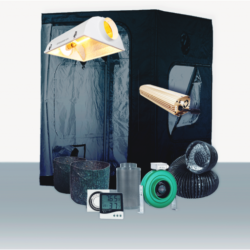 """5' x 5' Grow Room 1000W HID Coco Complete Grow Tent Package 5' x 5' Grow Room 1000W HID Coco Complete Grow Tent Package This complete grow room tent package includes everything that you need to get started with discretely growing at home. Experienced growers designed every aspect of this tent package. They chose the parts of this package to create the best grow experience at an affordable price. Included in this Grow Tent Kit: Plant House Indoor Grow Tent - 5' x 5' x 73  Growers House Carbon Filter 6  x 16  400 CFM Active Air 6 inch In-Line Fan 400 CFM 6 inch x 25' Black Lightproof Ducting w/Clamps Silver Flex Duct Tape -- 5 Yards 2 x Hurricane 6 inch Clip Fan - Classic Series Quantum Digital Dimmable Ballast 1000W 120/240 XtraSun 64 Air Cooled Reflector - 6 inch Ultra Sun HPS -- 1000 Watt Ultra Sun MH -- 1000 Watt -- 4.2K Grow Crew 1/8 inch Ratchet Light Hanger (Pair) Titan Controls Apollo 8 -- 24 Hour Dual Timer Grower's Edge Large Display Thermometer & Hygrometer 16 x Growers House Essentials Round Fabric Charcoal Pot - 3 Gallon 16 x Gro Pro Heavy Duty Black Saucer - 12 in Grower's Edge Soft Mesh Trellis Netting 5 ft x 15 ft w/ 6 in Squares General Hydroponics pH Control Kit Plant House Indoor Grow Tent - 5' x 5' x 73  The Plant House Indoor Grow Tent gives you total control over your grow space. The Plant House tent is built with a reinforced full metal frame and thick, durable sheathing fabric. The sturdy Plant House Indoor Grow Tent features crossbars to give growers the option of hanging lighting and ventilation systems from the ceiling (maximum load capacity of 110 lbs), opening up the entire 25 square ft of grow space for their crop. Despite its large size, the Plant House Indoor Grow Tent - 5' x 5' x 73"""" does not have a central vertical pole, allowing a single light source to be used. All lighting types including HPS, MH, CMH, fluorescent, LED, and more work in the Plant House Indoor Grow Tent - 5' x 5' x 73"""". Compare to Secret Jardin Dark Room tents, yet """