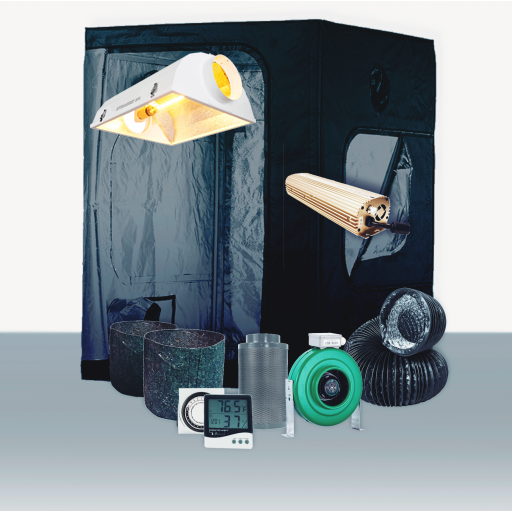 """5' x 5' Grow Room 1000W HID Soil Complete Grow Tent Package 5' x 5' Grow Room 1000W HID Soil Complete Grow Tent Package This complete grow room tent package includes everything that you need to get started with discretely growing at home. Experienced growers designed every aspect of this tent package. They chose the parts of this package to create the best grow experience at an affordable price. Included in this Grow Tent Kit: Plant House Indoor Grow Tent - 5' x 5' x 73  Growers House Carbon Filter 6  x 16  400 CFM Active Air 6 inch In-Line Fan 400 CFM 6 inch x 25' Black Lightproof Ducting w/Clamps Silver Flex Duct Tape -- 5 Yards 2 x Hurricane 6 inch Clip Fan - Classic Series Quantum Digital Dimmable Ballast 1000W 120/240 XtraSun 64 Air Cooled Reflector - 6 inch Ultra Sun HPS -- 1000 Watt Ultra Sun MH -- 1000 Watt -- 4.2K Grow Crew 1/8 inch Ratchet Light Hanger (Pair) Titan Controls Apollo 8 -- 24 Hour Dual Timer Grower's Edge Large Display Thermometer & Hygrometer 16 x Growers House Essentials Round Fabric Charcoal Pot - 3 Gallon 16 x Gro Pro Heavy Duty Black Saucer - 12 in Grower's Edge Soft Mesh Trellis Netting 5 ft x 15 ft w/ 6 in Squares General Hydroponics pH Control Kit Plant House Indoor Grow Tent - 5' x 5' x 73  The Plant House Indoor Grow Tent gives you total control over your grow space. The Plant House tent is built with a reinforced full metal frame and thick, durable sheathing fabric. The sturdy Plant House Indoor Grow Tent features crossbars to give growers the option of hanging lighting and ventilation systems from the ceiling (maximum load capacity of 110 lbs), opening up the entire 25 square ft of grow space for their crop. Despite its large size, the Plant House Indoor Grow Tent - 5' x 5' x 73"""" does not have a central vertical pole, allowing a single light source to be used. All lighting types including HPS, MH, CMH, fluorescent, LED, and more work in the Plant House Indoor Grow Tent - 5' x 5' x 73"""". Compare to Secret Jardin Dark Room tents, yet """