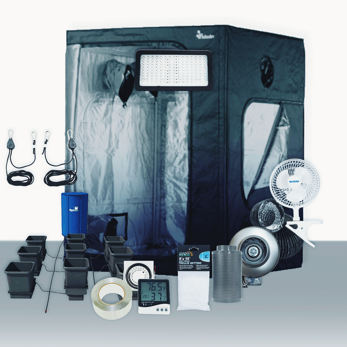 """5' x 5' Grow Room 320W PLS LED Hydro Complete Grow Tent Package 5' x 5' Grow Room 320W PLS LED Hydro Complete Grow Tent Package This complete grow room tent package includes everything that you need to get started with discretely growing at home. Experienced growers designed every aspect of this tent package. They chose the parts of this package to create the best grow experience at an affordable price. Included in this Grow Tent Kit: Plant House Indoor Grow Tent - 5' x 5' x 73  Common Culture Carbon Filter 6  x 16  400 CFM Common Culture Stealth 6-inch In-Line Exhaust Fan 400 CFM 6 inch x 25' Black Lightproof Ducting w/Clamps Silver Flex Duct Tape -- 5 Yards 2 x Hurricane 6 inch Clip Fan - Classic Series Prism Lighting Science Stealth 320W LED Grow Light Common Culture Grow Crew 1/8 inch Ratchet Light Hangers (Pair) Titan Controls Apollo 8 -- 24 Hour Dual Timer Grower's Edge Large Display Thermometer & Hygrometer AutoPot 9Pot Watering System Grower's Edge Soft Mesh Trellis Netting 5 ft x 15 ft w/ 6 in Squares General Hydroponics pH Control Kit Plant House Indoor Grow Tent - 5' x 5' x 73  The Plant House Indoor Grow Tent gives you total control over your grow space. The Plant House tent is built with a reinforced full metal frame and thick, durable sheathing fabric. The sturdy Plant House Indoor Grow Tent features crossbars to give growers the option of hanging lighting and ventilation systems from the ceiling (maximum load capacity of 110 lbs), opening up the entire 25 square ft of grow space for their crop. Despite its large size, the Plant House Indoor Grow Tent - 5' x 5' x 73"""" does not have a central vertical pole, allowing a single light source to be used. All lighting types including HPS, MH, CMH, fluorescent, LED, and more work in the Plant House Indoor Grow Tent - 5' x 5' x 73"""". Compare to Secret Jardin Dark Room tents, yet with upgraded metal corners. Accessing your crop and managing airflow is easy with the Plant House Indoor Grow Tent - 5' x 5' x 73"""". Thi"""