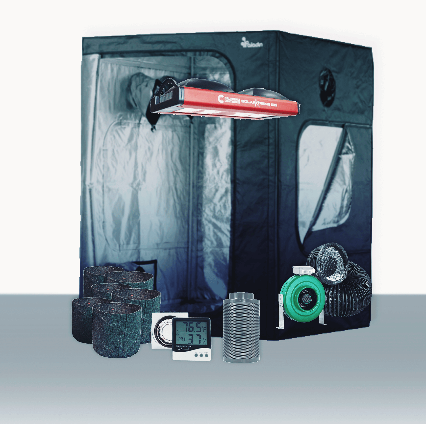 """5' x 5' Grow Room 400W CLW COB LED Coco Complete Grow Tent Package 5' x 5' Grow Room 400W CLW LED Coco Complete Grow Tent Package This complete grow room tent package includes everything that you need to get started with discretely growing at home. Experienced growers designed every aspect of this tent package. They chose the parts of this package to create the best grow experience at an affordable price. Included in this Grow Tent Kit: Plant House Indoor Grow Tent - 5' x 5' x 73  Growers House Carbon Filter 6  x 16  400 CFM Active Air 6 inch In-Line Fan 400 CFM 6 inch x 25' Black Lightproof Ducting w/Clamps Silver Flex Duct Tape -- 5 Yards 2 x Hurricane 6 inch Clip Fan - Classic Series California Light Works SolarXtreme 500 LED Grow Light Grow Crew 1/8 inch Ratchet Light Hanger (Pair) Titan Controls Apollo 8 -- 24 Hour Dual Timer Grower's Edge Large Display Thermometer & Hygrometer 16 x Growers House Essentials Round Fabric Charcoal Pot - 3 Gallon 16 x Gro Pro Heavy Duty Black Saucer - 12 in Grower's Edge Soft Mesh Trellis Netting 5 ft x 15 ft w/ 6 in Squares General Hydroponics pH Control Kit Plant House Indoor Grow Tent - 5' x 5' x 73  The Plant House Indoor Grow Tent gives you total control over your grow space. The Plant House tent is built with a reinforced full metal frame and thick, durable sheathing fabric. The sturdy Plant House Indoor Grow Tent features crossbars to give growers the option of hanging lighting and ventilation systems from the ceiling (maximum load capacity of 110 lbs), opening up the entire 25 square ft of grow space for their crop. Despite its large size, the Plant House Indoor Grow Tent - 5' x 5' x 73"""" does not have a central vertical pole, allowing a single light source to be used. All lighting types including HPS, MH, CMH, fluorescent, LED, and more work in the Plant House Indoor Grow Tent - 5' x 5' x 73"""". Compare to Secret Jardin Dark Room tents, yet with upgraded metal corners. Accessing your crop and managing airflow is easy with th"""