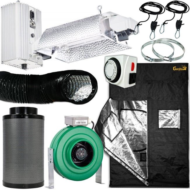 Gavita Double Ended 1000W Grow Room Package - 5x5 Package Includes: Gavita Pro E-Series SL 1000e DE 208-240V Fixture Gorilla Grow Tent 5' x 5' Active Air 6 inch In-Line Fan 400 CFM Growers House Carbon Filter 6  x 16  400 CFM Titan Controls Apollo 8 -- 24 Hour Dual Timer Grow Crew 1/8in Ratchet Light Hanger (Pair) Black Lightproof Ducting w/Clamps 6in 6 inch Stainless Steel Duct + Hose Clamps - 1 Pair Gavita Pro E-Series 1000e DE Slim Line - 208-240 Volt The new Gavita Pro line e-series complete fixtures are next-generation professional grow light solutions. Using high-output, high-frequency lamps, the Gavita Pro 1000 E-series ballasts are now capable of being remotely controlled by the Gavita Master Controller. Comes with an 8 foot 240v power cord. Gavita Pro 1000 DE Slim Line E-Series Accessories Included: User manual, 8 ft 240V power cord, (2)2 RJ14 controller cables and a T-splitter for plug and play installation, Gavita Pro electronic lamp, 3 years warranty on fixture, 1-year warranty on lamp. Slim-line ballast, only 9.7 inches high Highest light output and maintenance over time Highly efficient passive cooling of ballast for longer electronics lifetime Sealed housings with Gore-Tex® ventilation plugs External control with Repeater Bus interface Mounting brackets for Unistrut/c-profiles available Gorilla Grow Tent 5 ft x 5 ft This Gorilla Grow Tent 5' x 5' model is great for small gardens up to approximately 1000 watts. Great for propagation, vegetating, and flowering plants. 6' 11  tall out of the box. Growers House includes a free 1' height extension with each Gorilla Grow Tent 5' x 5' to make it up to 7' 11 . Buy the 2' height extension Add on to make the tent 8' 11 . You can add the 1' height extension on top of the 2' extension to make the tent a total of 9' 11 . Every Gorilla Grow Tent Comes with the Following: 100% Metal interlocking, sturdy frame & connectors. 1680D  Easy On  grow tent Easy set up instructions Convenient Access Tool Pouch Heavy Duty Flo