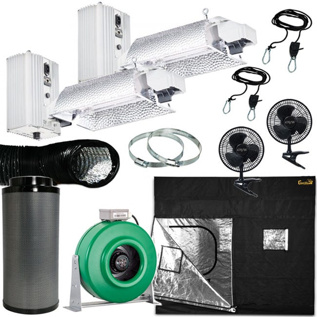 Gavita Double Ended 1000W Grow Room Package - 5x9 Package Includes: (2) Gavita Pro E-Series SL 1000e DE 208-240V Fixture Gorilla Grow Tent 5' x 9' Active Air 8 inch In-Line Fan 400 CFM Common Culture Carbon Filter 8  x 24  750 CFM (2) Active Air - 8 inch Clip Fan - Black (2) Common Culture 1/8in Ratchet Light Hanger (Pair) Black Lightproof Ducting w/Clamps 8in 8 inch Stainless Steel Duct + Hose Clamps - 1 Pair Gavita Pro E-Series 1000e DE Slim Line - 208-240 Volt The new Gavita Pro line e-series complete fixtures are next-generation professional grow light solutions. Using high-output, high-frequency lamps, the Gavita Pro 1000 E-series ballasts are now capable of being remotely controlled by the Gavita Master Controller. Comes with an 8 foot 240v power cord. Gavita Pro 1000 DE Slim Line E-Series Accessories Included: User manual, 8 ft 240V power cord, (2)2 RJ14 controller cables and a T-splitter for plug and play installation, Gavita Pro electronic lamp, 3 years warranty on fixture, 1-year warranty on lamp. Slim-line ballast, only 9.7 inches high Highest light output and maintenance over time Highly efficient passive cooling of ballast for longer electronics lifetime Sealed housings with Gore-Tex® ventilation plugs External control with Repeater Bus interface Mounting brackets for Unistrut/c-profiles available Gorilla Grow Tent 5 ft x 9 ft The Gorilla Grow Tent 5' x 9' model is great for small gardens up to approximately 2000 watts. Great for propagation, vegetating, and flowering plants. 6' 11  tall out of the box. Growers House includes a free 1' height extension with each Gorilla Grow Tent 5' x 9' to make it up to 7' 11 . Buy the 2' height extension to make the tent 8' 11 . You can add the 1' height extension on top of the 2' extension to make the tent a total of 9' 11 . Every Gorilla Grow Tent Comes with the Following: 100% Metal interlocking, sturdy frame & connectors. 1680D  Easy On  grow tent Easy set up instructions Convenient Access Tool Pouch Heavy Duty Fl