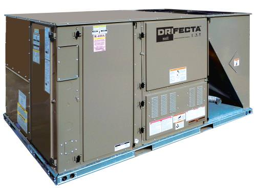 Ideal-Air DriFecta Plus 7.5 Ton All In One Commercial Gas/Electric Air Conditioner/Dehumidifier 208-230V *DISCONTINUED* This item has been discontinued, Please try our selection of Air Conditioners for an alternative. DriFecta All In One AC/Dehu units are an all in one unit which eliminates the need for an indoor A/C and a standalone dehumidifier. The Ideal-Air DriFecta Plus 7.5-Ton Packaged Commercial R-410A Gas/Electric Air Conditioner, 180 MBH, 208/230V 3 Ph 60 Hz is a commercial-grade air conditioner that allows for independent humidity control. Set temperature and humidity independently of one another. Even if the Ideal-Air DriFecta reaches the set point for temperature, the dehumidifier will continue to operate until the set point for humidity level is reached. The Ideal-Air DriFecta is a commercial packaged, 13.0 SEER, R-410A Air Conditioner with natural gas heat and a standard dehumidification feature. The 1.5 HP (Horsepower) belt-drive blower and 1-inch throwaway filters are included. All DriFecta units are 208/230V 3Ph 60Hz and come with a 1-year parts warranty. There is a 5-year limited compressor warranty when installed by a certified HVAC contractor. All units require a certified HVAC-Professional for proper startup Ideal-Air DriFecta units are designed for roof mounting on a curb (14-inch curb sold separately). Every DriFecta Air Conditioner is completely charged, wired, and only 1 electrical circuit is required. All DriFectra R-410A Air Conditioners are piped and tested at the factory to ensure their quality. All models of DriFecta are convertible between bottom and horizontal duct connections. Field-installed low-ambient cooling parts 700067 and 700068 are required for using the cooler when outdoor temperatures are below 0 degrees Fahrenheit. Factory-installed phase monitors protect the DriFecta motor and PCB from expensive electrical damage. Features Separate Temperature/Humidity Controls Gas/Electric Available in units from 3 tons all the way up to
