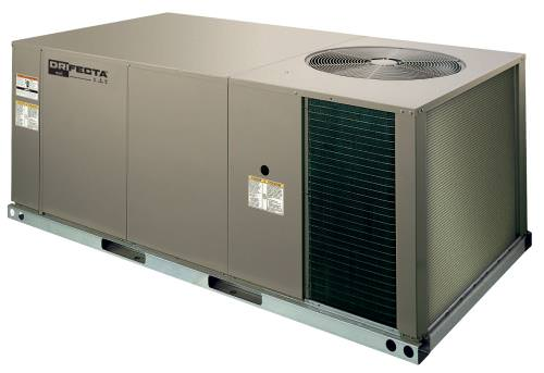 Ideal-Air DriFecta 5-Ton All In One Commercial Gas/Electric Air Conditioner/Dehumidifier 208-230V *DISCONTINUED* This item has been discontinued, Please try our selection of Air Conditioners for an alternative. DriFecta All In One AC/Dehu units are an all in one unit which eliminates the need for an indoor A/C and a standalone dehumidifier. is a commercial-grade air conditioner that allows for independent humidity control. Set temperature and humidity independently of one another. Even if the Ideal-Air DriFecta reaches the set point for temperature, the dehumidifier will continue to operate until the set point for humidity level is reached. The Ideal-Air DriFecta is a commercial packaged, 13.0 SEER, R-410A Air Conditioner with natural gas heat and a standard dehumidification feature. The 1.5 HP (Horsepower) belt-drive blower and 1-inch throwaway filters are included. All DriFecta units are 208/230V 3Ph 60Hz and come with a 1-year parts warranty. There is a 5-year limited compressor warranty when installed by a certified HVAC contractor. All units require a certified HVAC-Professional for proper startup Ideal-Air DriFecta units are designed for roof mounting on a curb (14-inch curb sold separately). Every DriFecta Air Conditioner is completely charged, wired, and only 1 electrical circuit is required. All DriFectra R-410A Air Conditioners are piped and tested at the factory to ensure their quality. All models of DriFecta are convertible between bottom and horizontal duct connections. Field-installed low-ambient cooling parts 700067 and 700068 are required for using the cooler when outdoor temperatures are below 0 degrees Fahrenheit. Factory-installed phase monitors protect the DriFecta motor and PCB from expensive electrical damage. Features Separate Temperature/Humidity Controls Gas/Electric Available in units from 3 tons all the way up to 25 tons upon request Constructed of Powder Painted Steel Pre-wired and charged Tested at factory Convertible between bottom and 