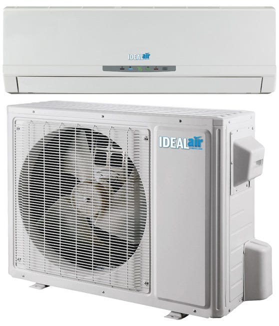 Ideal-Air Pro Series Ductless Mini Split 18 SEER - Cooling Only - 24,000 BTU *DISCONTINUED* This item has been discontinued, Please try our selection of Air Conditioners for an alternative. Ideal-Air™ Pro Series Ductless Mini Splits are high efficiency performance at 18 SEER Air Conditioners. They have inverter compressor technology offering 30% - 50% energy savings. The indoor evaporator unit can be easily installed with included wall mount. Includes LCD screen hand held programmable remote control. Auto restart after power failure. Requires certified HVAC-professional installation. Specifications Refrigerant lines sold separately. Requires field supplied electrical and communication wiring. Mini Split interconnecting wires contain 25 ft of 14 GA/3 conductor wire x 25 ft 16 GA/2 conductor wire (shielded) in addition to the insulated copper refrigerant line. Supply Voltage: 208/230V, 15 amp, 1 ph, 60 Hz MOC Protection 20 amp. Operating Amps: 12.74/11.52 AMP Cooling Capacity: 25,000 BTU/H Efficiency: 18 SEER Inverter Compressor. Indoor dB Rating: 63, Outdoor dB Rating: 68 Refrigerant Precharge: 56.40 oz of R410A. Outdoor Ambient operating range: (Cooling = 0° to 109°F).