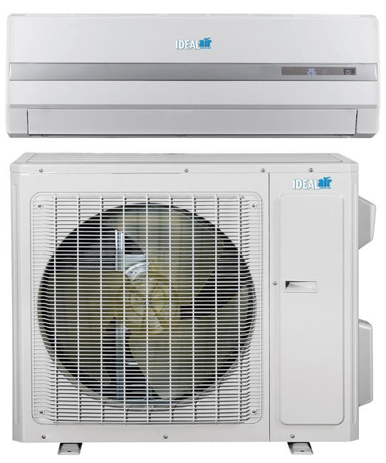 Ideal-Air Pro Series Ductless Mini Split 18 SEER - Cooling Only - 36,000 BTU *DISCONTINUED* This item has been discontinued, Please try our selection of Air Conditioners for an alternative. Ideal-Air™ Pro Series Ductless Mini Splits are high-efficiency performance at 18 SEER Air Conditioners. They have inverter compressor technology offering 30% - 50% energy savings. The indoor evaporator unit can be easily installed with included wall mount. Includes LCD screen handheld programmable remote control. Auto restart after power failure. Requires certified HVAC-professional installation. Specifications Refrigerant lines sold separately. Requires field supplied electrical and communication wiring. Mini Split interconnecting wires contain 25 ft of 14 GA/3 conductor wire x 25 ft 16 GA/2 conductor wire (shielded) in addition to the insulated copper refrigerant line. Supply Voltage: 208/230V, 25 amp, 1 ph, 60 Hz MOC Protection 40 amp. Operating Amps: 20.67/18.69 AMP. Cooling Capacity: 36,000 BTU/H. Efficiency: 18 SEER Inverter Compressor. Indoor dB Rating: 61, Outdoor dB Rating: 75. Refrigerant Precharge: 84.66 oz of R410A. Outdoor Ambient operating range: (Cooling = 0° to 109°F). Ideal-Air 36,000 BTU 18 Seer Cooling only Mini Split A/C Unit. 208/230 V, Operates up to 109 Degrees G of outdoor ambient temperature. With LCD screen hand held remote control. Line Set sold separately. Ships by freight only.