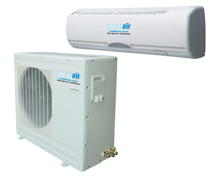 Ideal-Air Mini Split A/C Unit - 12,000 BTU Cooling Only *DISCONTINUED* Need help finding out how many BTU's of cooling power you need for your grow room? Use the Air Conditioner Cooling Calculator to know exactly what you need. Ideal Air mini split air conditioners are designed for cooling with outside temperatures ranging from 49º to 110º F. Use of unit outside these temperature ranges is not recommended. Improper usage relating to outside temperature is not covered under warranty. Can be used with the optional programmable thermostat with up to 4 temperature settings each day. (see related products) Flexible stainless steel pre-charged 23' line set with quick connect fittings allows for easy Do It Yourself installation. No technician required. Now with optional day/night mode. High energy efficiency performance: 13 SEER air conditioner. Line sets are pre-vacuumed and pre-charged with R104A refrigerant. You can keep them charged if you need to move it. Call for more information. SImply hook up the quick connect's and open the service valves, tighten and check for leaks. Must have a dedicated power circuit. Auto restart after power failure. One year manufacturer warranty. 12,000 BTU Unit Cooling Power/Capacity: 8.9 amps/1,180 watts/12,000 BTU. dB Rating: Indoor 38 dB, Outdoor 45 dB. Requires 120 volt dedicated 15 amp circuit. 24,000 BTU Unit Cooling Power/Capacity: 10 amps/2,200 watts/24,000 BTU. dB Rating: Indoor 32 dB, Outdoor 45 dB. Requires 240 volt dedicated 15 amp circuit. 36,000 BTU Unit Cooling Power/Capacity: 14 amps/3,000 watts/36,000 BTU. dB Rating: Indoor 40 dB, Outdoor 50 dB. Requires 240 volt dedicated 20 amp circuit. Instructions