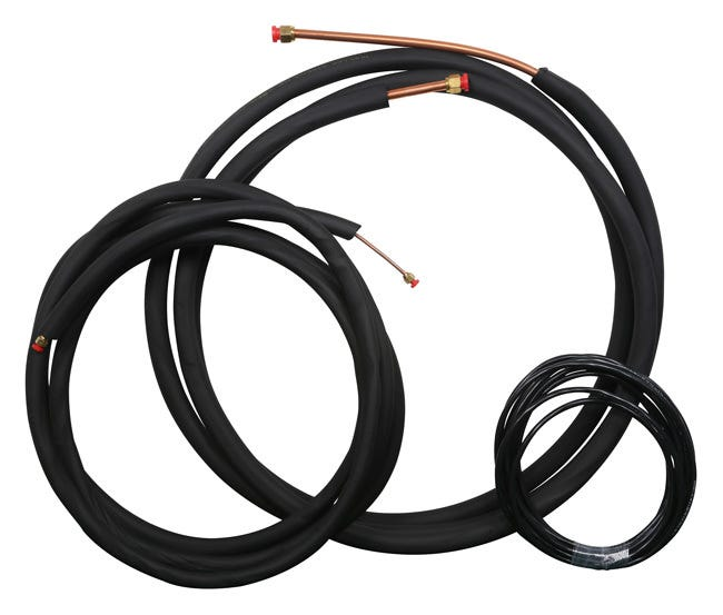 Ideal-Air Mini Split Line Set - 1/4 in x 5/8 in - 25 ft for 2 and 3 Ton Single Zone Linesets and Interconnecting Wires for Ideal Air Mini-Split Systems. Kit Includes: 1/4  by 25 ft insulated copper refrigerant line 5/8  x 25 ft insulated copper refrigerant line 14 GA/3 conductor wire x 25 ft 16 GA/2 conductor wire (shielded) x 25 ft.