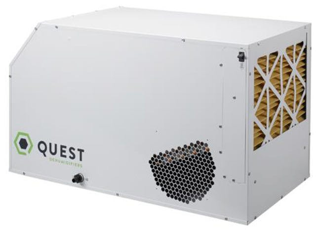 Quest Dual Overhead Dehumidifier - 105 Pints Avoid problems caused by moisture, such as structural integrity deterioration, or an unhealthy workplace environment, a dehumidifier is necessary to maintain EPA recommended relative humidity levels between 45-50%. Only supplemental dehumidification provides indoor humidity control regardless of air conditioner operation or outside moisture conditions. The Quest 105, 155 and 205 Dual plug-n-play dehumidifiers are among the MOST energy-efficient large capacity dehumidifiers on the market today. The Quest 105 Dual for example, exceeds Energy Star standards by 50% with its 8.8 pints per kWh of water removal. The Quest Duals' horizontal configuration, patent pending dual outlet design, and insulated cabinet for quieter operation enable their exceptional performance in almost any application. These units are also optimized for low heat load, so they will continue to control humidity even when it is cool and humid outside. The Quest Duals are plug-n-play, requiring no installation. Optional condensate pump and ducting kits provide the ultimate in flexibility for the most challenging space restrictions and specialized applications. Quest 105, 155 and 205 Dual dehumidifiers will continue to protect your structure and control the inside environment, ensuring superior indoor air quality and the comfort of its occupants year round. MERV-11 filtration is standard on these units, capturing particles (including mold spores) down to 1 micron in size. Compared to most standard dehumidifiers (3.8 pints/kWh), the Quest is nearly twice as efficient, standard unit just can't compare. The Quest 105 performs at over 8.8 pints per kWh. Estimated annual electrical savings: Quest 105 Dual — $974 Features: Industry-leading efficiency, most efficient on the market today Plug-N-Play Patented, optimized air-to-air heat exchanger High-efficiency, long-life impeller fan Quiet operation and superior high static pressure performance Superior air filtration (MERV-11 standard) Patent Pending Dual a