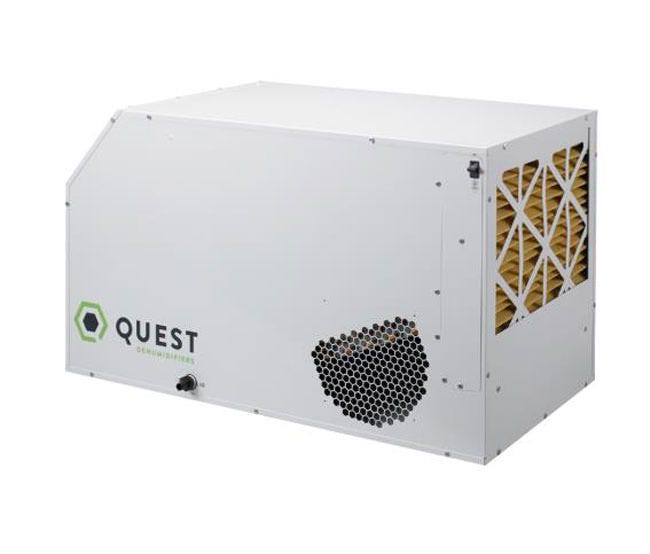 Quest Dual 225 Overhead Commercial Dehumidifier - 230 Volt Quest Dual 225 is in fact the industry's first 230 volt commercial dehumidifier! Like all Quest products you have the option of placing it ground level for plug and play operation or hung overhead up and out of the way. The Dual 225 is one of the most energy efficient dehumidifiers out right now performing using minimal amps (6.9) and maximum efficiency (6.1 pints/kWh). Compared to most standard dehumidifiers (3.8 pints/kWh), the Dual 225 could save up to $2,000 per year in electricity. Made in the USA for highest safety and environmental standards The Quest Dual 225 is UL-listed and ETL certified. Manufactured in the USA and built to last, it comes with a five-year powertrain warranty. The Dual 225 uses environmentally-friendly R410A refrigerant. Created using high environmental standards allows the Quest Dual 225 to create reusable water thats safe to use on consumable plants. Produces Reuseable Water Quest dehumidifiers produce very low TDS water with neutral pH. This water is safe to reuse for all plants, even consumable ones. (With Best Practices) Best Practices to Reuse Condensate Water Run your dehumidifier if it's been idle first If your dehumidifier has been sitting idle, run it for three days before using any condensate water from it. (Dehumidifiers that are allowed to sit for more than a couple of days should be dried out as completely as possible, to discourage mold growth.) Test condensate: Be sure it's free of contaminates Contaminate levels should be low enough and well within acceptable limits as long as your dehumidifier is in good working order and has proper filtration. It is always a good idea to test condensate water for heavy metals, nitrates, and bacteria – and state law may require you to if you are a commercial grower. Keep your dehumidifier and filter clean Quest dehumidifiers will produce condensate water that can be used as-is, as long as you keep the filter in place and clean reg