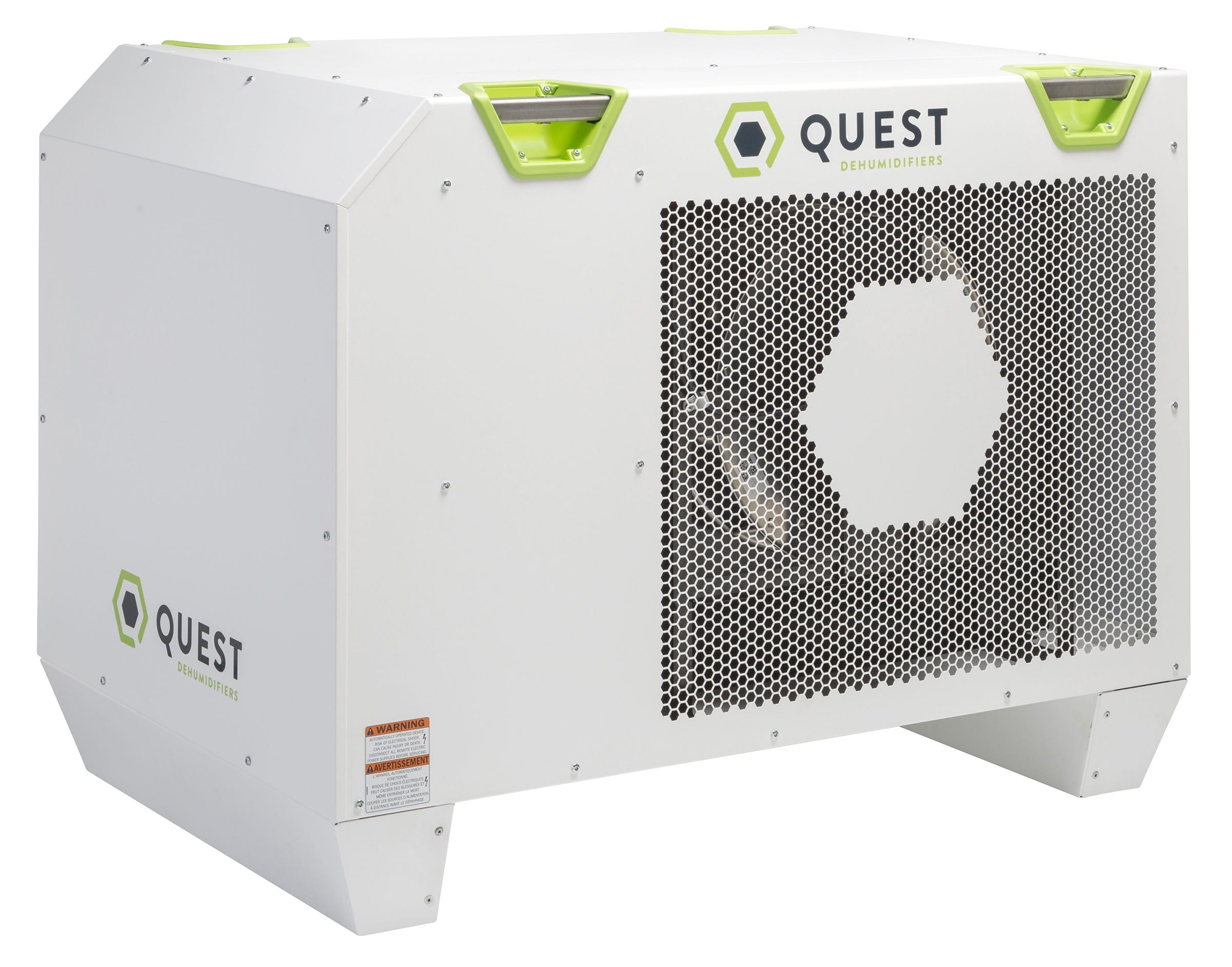 Quest 506 Commercial Dehumidifier 500 Pint - Factory Remanufactured - 3 Year Warranty Quest 506 Commercial Dehumidifer 500 Pint The Quest 506 is the first 500 pint, 230 volt 1 phase, commercial dehumidifier designed for commercial growing at scale. Like all Quest products it can be placed at ground level for immediate operation or hung overhead and out of the way. The Quest 506 Commercial Dehumidifer is the most energy efficient high capacity dehumidifier. It uses only 11 amps while running at a maximum efficiency of 8.1 pints/kWh. It is made in the USA. This model comes standard with MERV-11 filtration. The filtration can capture particles (including mold spores) down to 1 micron in size. An additional Humidistat is required, we recommend the DEH 3000R Wall Mounted unit part #700833. There is a 1 year parts and labor warranty and a 5 year compressor and refrigerant system warranty. Quest 506 Features: Industry-leading efficiency, most efficient on the market today Patented, refrigeration system High-efficiency, long-life impeller fan Quiet operation Superior air filtration (MERV-13 standard) Auto-restart after power outages Environmentally friendly R410A refrigerant Low voltage control Quest 506 Dehumidifier Specifications: Power (Watts): 2700 Supply voltage: 220-240 VAC - 1 Phase - 60 Hz. Current Draw (Amps): 11.0 Rated Current Draw (Amps): (104°F 36%) 13.6 Energy Factor (L/kWh): 3.8 Operating Temp: 56°F Min - 95°F Max Water Removal (Pints/Day): 506 Efficiency (Pints/kWh): 8.1 Air Filter (MERV-13): (2) Size: 18  x 20  x 2  Power Cord: 14ga 10', NEMA 6-20P Drain Connection: 3/4 Threaded NPT Refrigerant Type: R410A Refrigerant Amount: 4lb. 8oz. Unit Dimentions: 45  x 29  x 34