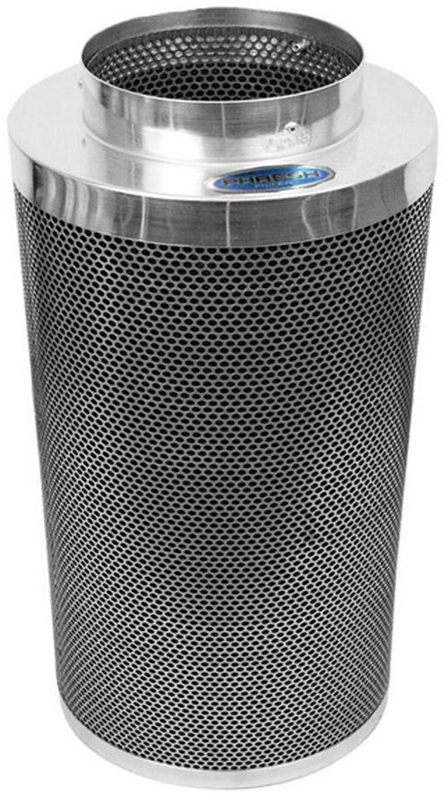 "Phresh Filter 6 in x 16 in 400 CFM Phresh Filter 6  x 16  400 CFM Carbon Filter for Grow Rooms Phresh filters are state of the art carbon filters that practically scour the air to make it clean of dust, foreign particulates, organic compounds and odors. Compared to their competitors, Phresh carbon filters are half the weight, last twice as long, have the largest selection of sized to choose from, and are very competitively priced. Phresh filters rely on the unique properties of high grade RC-48 activated carbon, found exclusively in Western Australia. These filters are currently being used in research labs, plant breeding, tissue culture, indoor gardening, backyard and commercial greenhouses. Phresh carbon filters are professional-grade system designed to meet the demands of serious hobbyists and commercial applications. Use our convenient Size Calculator to determine which Phresh Filter is right for you! Phresh Size Calculator. Aluminum tops and bases for reduced weight. Half the weight of other filters. 46mm (1.8 ) RC-48 activated, certified virgin carbon bed. Machine packed carbon means more carbon and less movement. Cone shaped internal base for optimum air flow. Sealed, bagged, boxed and labeled directly after being manufactured for optimum life span, handling and presentation. 51% open air custom mesh. Unique ""Anti Air Bypass"" System. Large selection of sizes available to fit any application. Flange & pre-filter included. 4  x 8  to 8  x 24  sizes only can be sent via UPS. SKU / Flange Size / Length / CFM 701000 Phresh® Filters 4  x 8  150 701003 Phresh® Filters 4  x 12  200 701005 Phresh® Filters 6  x 16  400 701010 Phresh® Filters 6  x 24  550 701015 Phresh® Filters 8  x 24  750 701018 Phresh® Filters 8  x 39  950 701020 Phresh® Filters 10  x 24  850 701025 Phresh® Filters 10  x 39  1,400 701030 Phresh® Filters 12  x 39  1,700 701035 Phresh® Filters 14  x 39  2,100 701040 Phresh® Filters 14  x 48  2,500 701045 Phresh® Filters 14  x 50  3,800 For more information visit www."