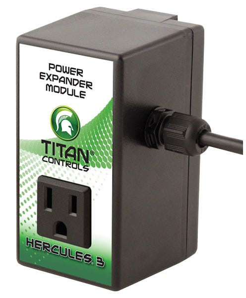 Titan Controls Hercules 3 Power Expander - 15 Amp The Hercules™ 3 is a trigger cord style power controller. It provides the opportunity to utilize an independent 15 amp outlet to run an appliance via the cord i.e. operate a dehumidifier. Your gear can be activated by the trigger cord set via an environmental controller or timer. The Hercules™ 3 comes with a 15 foot trigger cord set and a heavy duty ballast rated relay to handle the heaviest of power loads. Will operate any 120 volt appliance at 15 amps. Plastic enclosure resists dust, rust and moisture. Operates dehumidifiers, humidifiers, heaters, fans, lighting, CO2, pumps or other 120V appliances. Extra-long 15 foot 'trigger' cord set Dependable high quality, heavy duty power relay Chassis resists dust, rust and moisture Hand crafted in the USA! 15 Amp/ 120 Volt/ 60 Hz. 2 year warranty Can be used with an extension cord (appropriate for your load) Why do I have to run my appliance and my trigger cord on separate circuits? Normally, the trigger cord is plugged into your environmental controller to operate your appliance. If you run both the environmental controller and the appliance on the same circuit, you may overload the circuit and trip the breaker. By putting the appliance on circuit  A  and the envrionmental controller on circuit  B , you can run up to a 15 Amp appliance and still control other devices from your environmental controller because you've now got 30 Amps (15 Amps from circuit  A  and 15 Amps from circuit  B  ) to operate your grow gear.