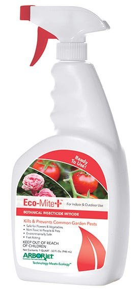 Arborjet Eco-Mite Plus RTU Quart Spray (Case of 8) A blend of botanical oils and extracts that provide a higher active ingredient concentration than similar products (Similar products don't contain these concentrated extracts, instead they only contain oils). Data shows Eco-Mite Plus™ works better than other products on the market. Eco-Mite Plus is a contact miticide and insecticide, derived from botanical plant oils and extracts and available for use on food crops. Eco-Mite Plus controls phytophagous mites, eggs and nymphs and other piercing-sucking insects, including aphids, mealybugs, scale crawlers, thrips, and whiteflies. Kills & repels Non-toxic to people & pets Environmentally safe For indoor & outdoor use Great for indoor growing, hydroponics, landscapes & nurseries Works fast Organic, EPA 25b product Application: Spray under the leaves where mites are present. Kills and repels mites and other insects. For large infestations, use on day 1, day 2 and then day 5 or 7. Then every 7-14 days after that. EPA registration numbers: 704968 - B(25) Exempt 704970 - B (25) Exempt 704972 - B(25) Exempt Not for sale in the following location(s): AL, AR, DC, IA, ID, KS, KY, LA, MD, MS, ND, NE, NH, NM, OK, SC, SD, UT, VA, VT, WV, WY
