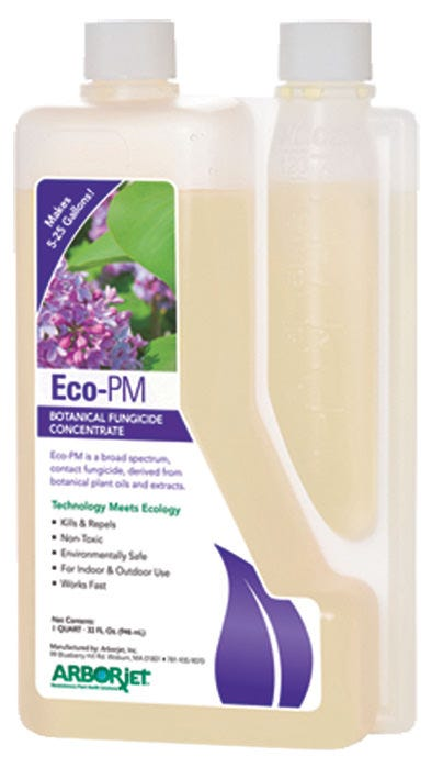 Arborjet Eco-PM Botanical Fungicide Concentrate - Quart (Case of 8) Eco-PM is a broad spectrum contact fungicide, derived from botanical plant oils and extracts. Eco-PM controls diseases such as botrytis gray mold, powdery mildews, and phytophthora late blight on common garden and vegetable plants and vines. It controls black spot on roses and anthracnose, rust, and powdery mildews on garden ornamentals. Kills & repels Non-toxic to people & pets Environmentally safe For indoor & outdoor use Great for indoor growing, hydroponics, landscapes & nurseries Works fast Organic, EPA 25b product Application: Foliar spray: Spray under the leaves where mites are present. Kills and repels mites and other insects. For large infestations, use on day 1, day 2 and then day 5 or 7. Then every 7-14 days after that. EPA registration numbers: 704974 - B(25) Exempt 704976 - B (25) Exempt 704976 - B(25) Exempt Not for sale in the following location(s): AL, AR, DC, IA, ID, KS, KY, LA, MD, MS, ND, NE, NH, NM, OK, SC, SD, UT, VA, VT, WV, WY