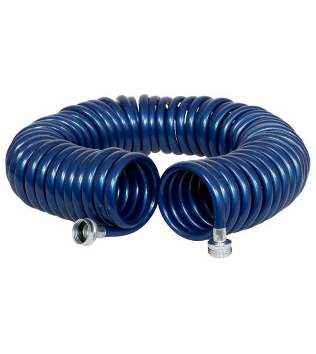 Revolution Coiled Garden Hose 3/8 x 50 ft The Rainmaker Revolution Coiled Garden Hose 3/8 in x 50 ft is an ultra lightweight hose with excellent recoil memory. The Revolution Coil feature allows you to fully extend the hose and retract it back to it's original compact form. The Rainmaker Revolution Coiled Garden Hose will not kink or tangle making this hose easy to use and store. Hose construction is resistant to UV rays, abrasions, over stretching and kink damage. This hose is equipped with anti-corrosive max flow fittings.