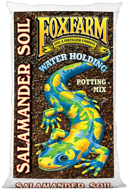 FoxFarm Salamander Soil Potting Mix 1.5 Cu Ft Plants that are grown in hot climates need that extra thirst quench so that they can stay vigorous and not get stressed from drying out. The inconvenience of frequent waterings is sometimes problematic for growers who just can't get to their plants in time. Moisture has to be accurate; too much will cause root rot and plants will suffer. SUPER Water Holding Properties A trek through the Giant Redwood Forests of the Pacific Northwest is refreshing and magical. Mother Nature holds many secrets within these forests unless you know where to look. Hidden under the camouflaged logs and tucked away in this sacred realm is a special creature luxuriating in a sweet moist environment. The smooth shiny Salamander is a true delight of Nature. These beautiful little creatures come in a bright kaleidoscope of colors and call these forests their home. Salamanders always find the right habitat to flourish in.