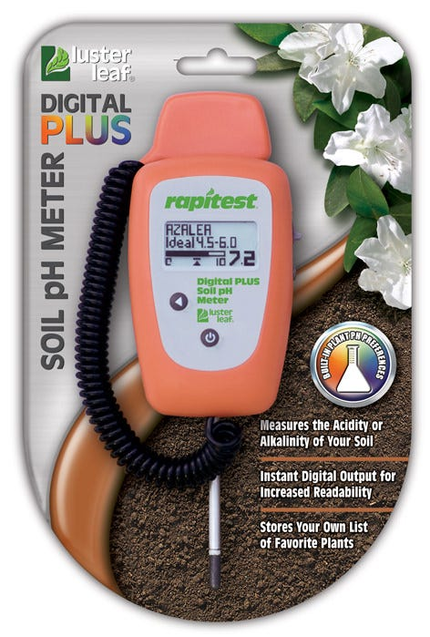 Rapitest Digital Plus Soil pH Meter model 1847 by Luster Leaf The Rapitest® Digital Plus Soil pH Meter is programmed with plant pH preferences for over 400 fruits, vegetables, grasses and landscape plants. The meter's numeric format is easy to read. All results are displayed on the digital LCD screen, ranging from 3.5 to 9.0. Measures the acidity or alkalinity of your soil. Instant digital output for increased readability. Stores your own list of favorite plants.