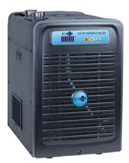 EcoPlus Water Chiller - 1/2 HP Fight warm water problems with an EcoPlus Water Chiller! Digital control system for accurate, stable water temperature that helps to keep your reservoir cool. Environmentally safe, freon-free R134a refrigeration system that has high energy efficiency. Will chill the water from 37-90 degrees. Anti-corrosive, pure titanium evaporator. Includes over current protection system and memory protection. High quality Japanese-made compressor is extremely efficient and reliable. Suitable for cooling both fresh and salt water. Fittings: 3/4 inch - Includes plumbing connections of 3/4 inch male NPT with hose fittings. 120V-60Hz 4.4 amps Max water volume of 132 gallons Pump size: Minimum pump size 317 to 750 GPH, Maximum 1200 GPH Chilling Capacity: 320 gals - chill water up to 10 degrees F Chilling Capacity: 2200 gals - chill water up to 30 degrees F weighs 52 lb Dimensions are 21 in W x 15.5 in D x 22 in H Use appropriately sized pumps; you will need two. one pump is to move water through the chiller; the other is to move the water through your system. Recommended chiller pump size: