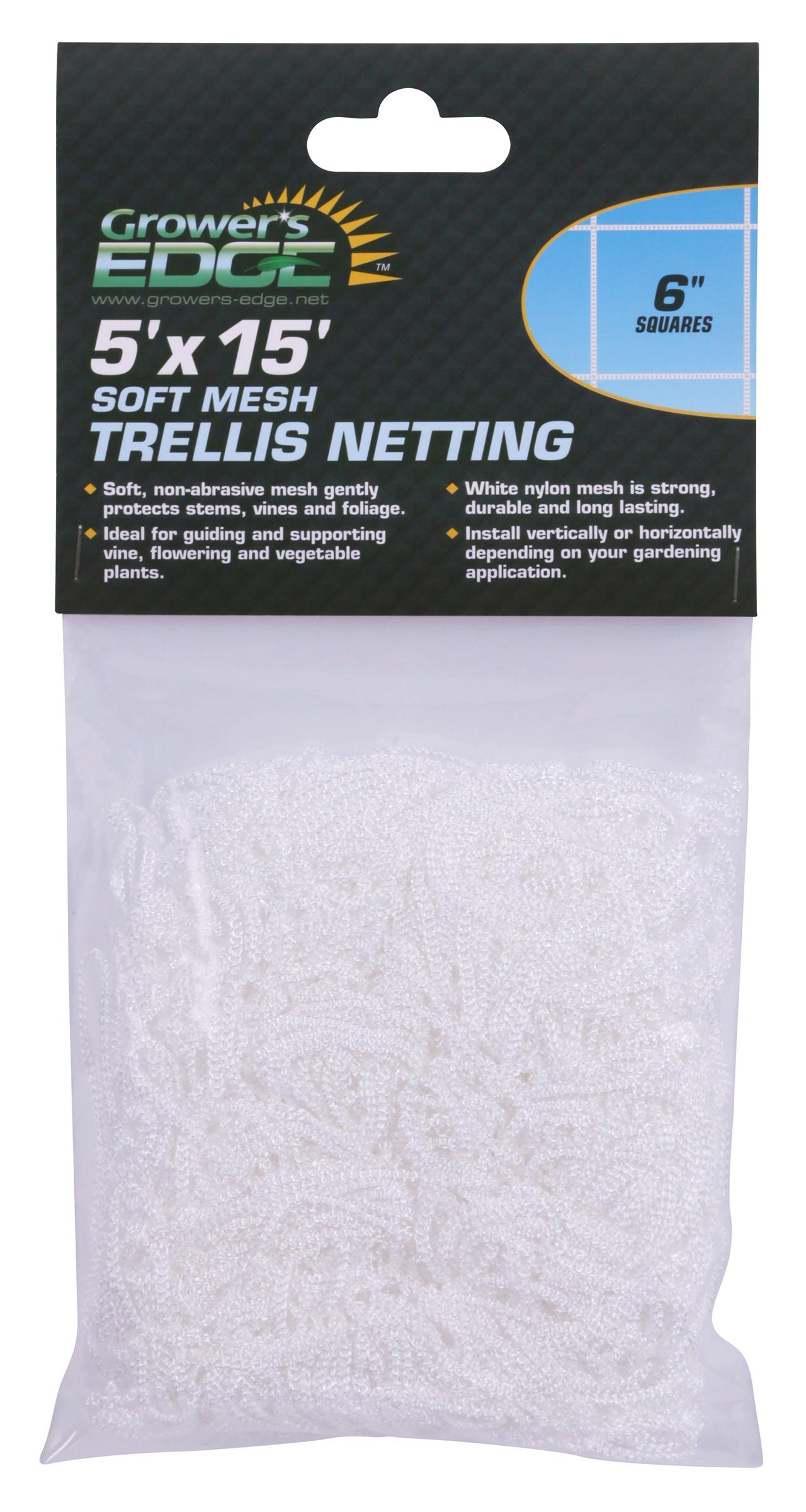 Grower's Edge Soft Mesh Trellis Netting 5 ft x 15 ft w/ 6 in Squares