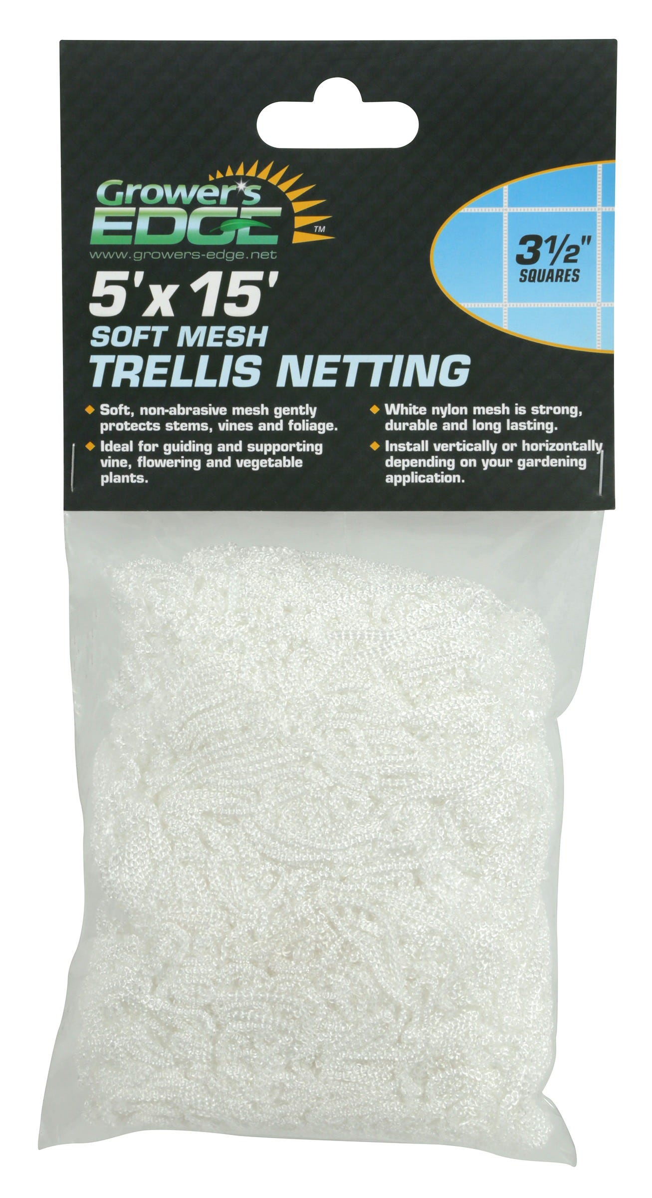 Grower's Edge Soft Mesh Trellis Netting 5 ft x 15 ft w/ 3.5 in Squares