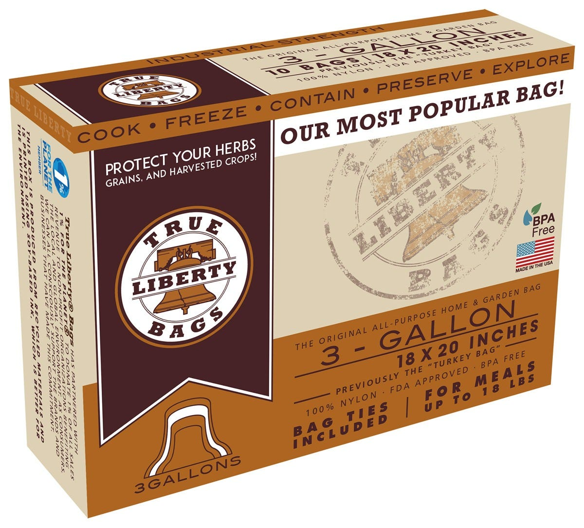 True Liberty 3 Gallon  Turkey  Bags 18 in x 20 in (25/pack) True Liberty® Bags are THE ORIGINAL All-Purpose Home & Garden bag. These bags are used by commercial organic farmers, food storage experts, and hobby growers to keep their foods fresh, healthy, and delicious. True Liberty® Bags are safe to use in your conventional oven, freezer, rice cooker, slow cooker, or stove top, as they are resistant to cold, heat, fat, grease, oil, and water. True Liberty® Bags have an excellent aroma barrier, which makes for a fantastically versatile, all-around home and garden bag.