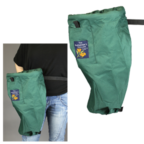 The Gardener's Hollow Leg in Hunter Green (Pack of 12) *DISCONTINUED* This item has been discontinued, Please try our selection of Harvesting Gear, Packaging for an alternative. The Gardener's Hollow Leg is the debris and harvesting bag you wear. It's a fabric sack attached to a belt that is worn while you are working in the garden. It's ideal for doing light pruning, dead-heading, spot-weeding, and general neatening. It's handy for fruit and produce harvesting, too. The belt will hold your clipper and clipper-holster (not included). There's even a Velcro-closed pocket for your cell phone or iPod! The patented ring-opening at the top makes it easy to drop your clippings into the sack! No more buckets that smash your ground cover or other plants – or that are always somewhere else – not where you need them! The Gardener's Hollow Leg goes with you when you are moving around bushes and deep in plant beds. That's why we call it  A Pruner's Perfect Companion  - it's always at your side! And no more piles of clippings to clean up at the end of the day! When you fill it up, is easy to empty into your green can, compost container or fruit bin using the fabric handle at the bottom of the bag. Once again, the patented ring-opening design makes emptying the bag easy! The Gardener's Hollow Leg from Gardener's Hollow Leg on Vimeo.