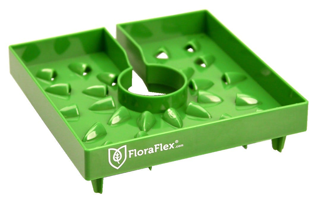 FloraFlex 6  FloraCap 2.0 Top Feed Dripper for Rockwool Cubes Place the revolutionary, patent-pending FloraCaps™ by FloraFlex on your 6  Rockwool cubes, and maximize your space in the Vegetative cycle. 34 flower designed louvers block light, while allowing air, water, and nutrients to your plant. The FloraCap™ was designed with the vegetative state in mind but has proven a worthy tool for the avid top feeder throughout the flowering stage as well. Reduce top feed counts by 50%! Never waste a drop - encompassing bottom lip directs all liquid into your Rockwool cubes and straight to your plants' roots. Feed your plants less - Let root zones dry more consistently rates . FloraCap™ covers top of media, still allows necessary oxygen Built in overflow saves excess water and nutrients Maneuvering your plants is now much easier by grabbing ahold of the FloraCap™. Easy to clean - holes in all four corners drain leftover water and nutrients, leaving little to no calcium build-up. Dishwasher safe. Four three-way stakes on the bottom corners add extra stability. Safe and effective - made from BPA and lead-free plastic. Stackable. Reusable.