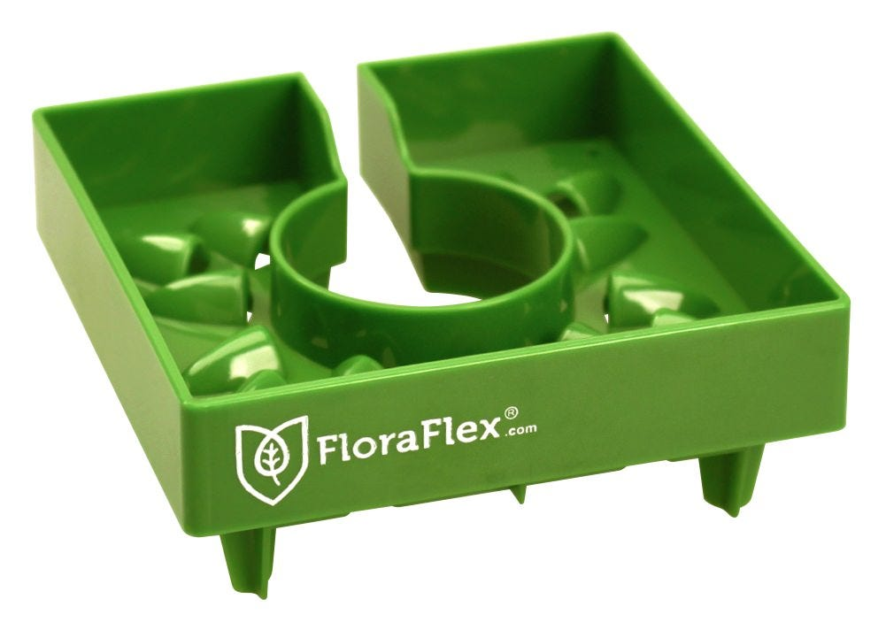 FloraFlex 4  FloraCap 2.0 Top Feed Dripper for Rockwool Cubes The FloraFlex® 4 in FloraCap® is a patent pending revolutionary tool for top feeding that also helps eliminate algae. The FloraCap® 2.0 was redesigned to give you a more consistent flow rate, even distribution, a slightly increased air flow and improved stabilization. Place the FloraCap® on top of your 4 or 6 in rockwool cubes, maximizing your space in the vegetative cycle. Fill the cap with water and nutrients by hand or automate with FloraClips. The 4 in cap features 13 flower designed louvers and the 6 in cap features 26 flower designed louvers that delivers water, nutrients and air to the medium while blocking light. The FloraCap® strategically covers the top of the media allowing the root zones to dry at a more consistent rate and delivering the necessary oxygen your plants need to thrive. Algae disappears, healthy roots fill the medium and blossoms multiply. Reduce top feed counts by 50%! Never waste a drop - encompassing bottom lip directs all liquid into your Rockwool cubes and straight to your plants' roots. Feed your plants less - Let root zones dry more consistently rates . FloraCap™ covers top of media, still allows necessary oxygen Built in overflow saves excess water and nutrients Maneuvering your plants is now much easier by grabbing ahold of the FloraCap™. Easy to clean - holes in all four corners drain leftover water and nutrients, leaving little to no calcium build-up. Dishwasher safe. Four three-way stakes on the bottom corners add extra stability. Safe and effective - made from BPA and lead-free plastic. Stackable. Reusable.