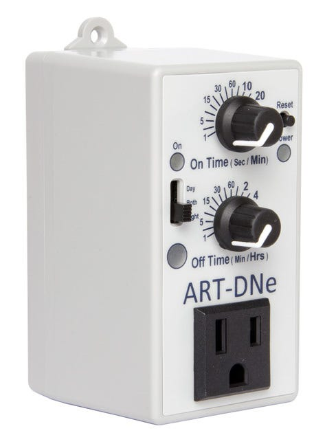 C.A.P. ART-DNe Adjustable Recycle Timer C.A.P. ART-DNe Adjustable Recycle Timer Day/Night Grow Room Controller The ART-DNe Recylcing Timer by Custom Automated Products controls any application requiring a device to be turned on and off at precise intervals. The ART-DNe has a user adjustable on time of 1 second to 40 minutes and an off time of 1 minute to 8 hours. A day/night/both switch allows you to select the time period that the ART-DNe will operate. The ART-DNe timers have a wide range of uses including controlling hydroponic pumps, simple CO2 controller, turning on and off ozone generators, running exhaust fans, etc. ART-DNe timers are rated for 15 amps @ 120 volts The ART-DNe simply plugs into a 15 amp, 120 volt outlet. The ART-DNe can control up to 15 amps @ 120 volts. The ART-DNe has an on time of 1 second to 40 minutes and an off time of 1 minute to 8 hours. Manufacturers Instructions: ART-DNe Instruction Manual Now backed by Hydrofarm Upgraded circuit boards Improved performance More precise operation