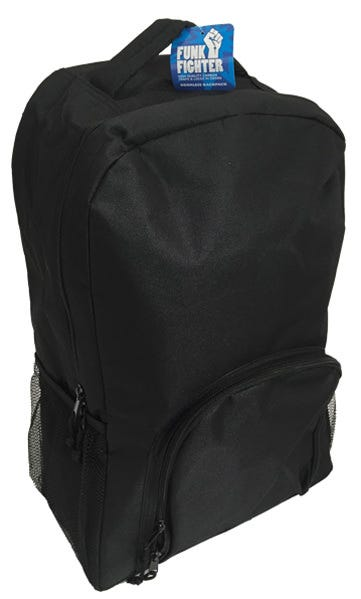 """Funk Fighter Odorless Backpack The Funk Fighter Backpack has a high-quality carbon lining to trap and eliminate odors and extra carbon lining beneath the zipper for superior odor-trapping capabilities. The Backpack measures 13.5"""" x 7.5"""" x 20"""" and features a large main zipper compartment, a small zipper compartment on the front, 2 mesh pockets on the sides, adjustable straps, and a carry handle on the top. Easy to restore after long term use, simply place your Funk Fighter bag in a dryer on low for a few minutes to shake up the carbon within and reactivate its smell fighting powers."""