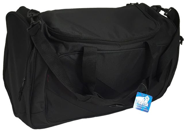 """Funk Fighter Large Odorless Gym Bag The Funk Fighter Large Gym Bag has high-quality carbon lining to trap and eliminate odors and measures 27"""" x 11"""" x 13"""". The Large Gym Bag features the large main zippered compartment which has 2 layers of zippered openings for maximum odor-trapping capabilities. Funk Fighter Large Gym Bag also has zippered compartments on each end of the bag, an adjustable strap, and attached handles which can velcro together. Easy to restore after long term use, simply place your Funk Fighter bag in a dryer on low for a few minutes to shake up the carbon within and reactivate its smell fighting powers."""