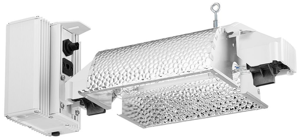 Gavita Pro 600/750 E-Series DE 277-347V Fixture This item is special order so lead times can vary from 4-12 weeks. Please contact us at 855-289-1441 or staff@growershouse.com for more accurate information. This professional fixture requires installation by a certified electrician in an industrial environment. Growers House offers light design plans for large cultivation operations including greenhouses and indoor cultivation. If you would like assistance in setting up, organizing, and optimizing your new or already existing indoor garden, and/or getting bulk pricing, please give us a call at 855-289-1441 or message us. NEW! Introducing Pro line e-series Gavita Pro 6/750e DE The best just got better! The new Gavita Pro line e-series are improved models and are suitable for central control with the Gavita Master lighting controllers. Now you can have complete lighting control at your fingertips. The Gavita Pro 600 Double Ended E-Series is the most powerful and sophisticated indoor grow light available. In greenhouse areas where this unit is being used as supplemental lighting, it can cover up to a 8' x 8' area. If used as a primary light source, the Gavita Pro 1000 E-Series Double Ended fixture can cover up to a 5' x 5' area. Use the Gavita Master Controllers to control up to 40 (Gavita Master Controller EL1) or 80 (Gavita Master Controller EL2) lights. New in the Pro line e-series is the 6/750e DE fixture, which utilizes a newly developed Gavita double ended Pro 750W 400V EL lamp. The control range of this lamp is 400-825W, bridging the gap between 600W and 1000W lamps. We named it 6/750 DE because it is as efficient running on 600W as it is on 750W. In many cases it is a retrofit replacement for a 1000W air cooled fixture while running at just 825W. This will save you up to 20% electricity. The output of the lamp, running at 750W, is 1500 μmol s-1 (2 μmol s-1 per Watt). Efficiency of 2 umol s-1 per Watt in a wide control range of 600-825W. That's flexibility! At 825