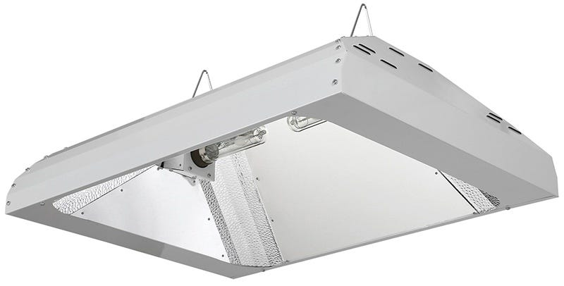 Sun System LEC 630 - 347 / 480 Volt w/ 3100K or 4200K Lamps Sun System LEC 630 - 347 / 480 Volt w/ 3100K or 4200K Lamps The Sun System LEC 630 Fixtures utilize cutting edge Light Emitting Ceramic brand technology. This fixture has a dual horizontal lamp configuration offering increased wattage in a single fixture design. It has a 98% reflective German aluminum insert and 95% reflective textured corners for excellent output, uniformity and diffusion. The fixture comes with a 2 year warranty. The Sun System LEC 630 comes with highly efficient, agriculturally engineered CDM-T Agro 315 Watt lamps. These are greatly improved full color light spectrum next generation ceramic lamps. They create higher amounts of beneficial UV and far red spectrums increase the lamps growth power to the plants. They are a very high 1.95 PPF (photosynthetic photon flux) per second light source. Expect high 92 CRI and 33,000 initial lumens (105Lm/W), high 90% lumen maintenance @ 8000 hr, and high 85% PPF maintenance @ 20,000 hr. The lamps come with a one year warranty. The Sun System LEC 630 Fixture has a unique open rated lamp construction reduces radiant heat from the arc tube and is suitable for open fixture use. It has 50/60 Hz low frequency, square wave, with a highly efficient Philips electronic ballast rated for 50,000 hours of life. Philips electronic ballast incorporates built in thermal protection.