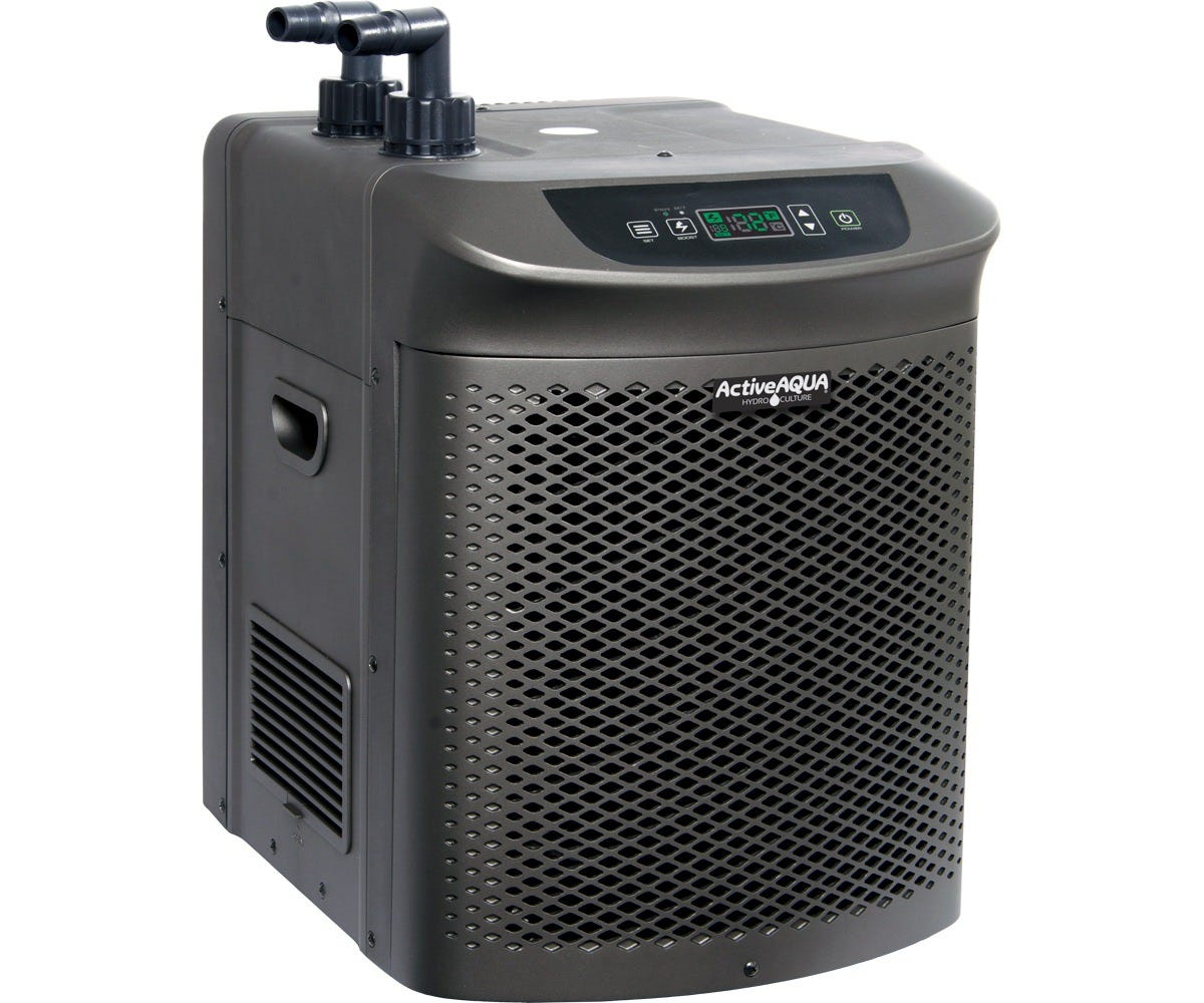 Active Aqua Water Chiller refrigeration - 1/2 HP with Boost Function Active Aqua's chillers are environmentally friendly (they use R410a refrigerant) and are ideal for keeping the nutrient solution in your reservoir at the perfect temperature. Each unit has a user-friendly temperature system that allows you to control your desired temperature range as needed, and all models now have a boost function that accelerates the chilling process for quicker establishment of initial nutrient solution temperature. Large refrigeration capacity (recommended volume: 90 - 172 gal) Anti-corrosive pure titanium evaporator for both fresh and salt water Rate of flow: 1/2 HP (800‒1600 G/h -3000‒6000 L/h) Rated BTU per hour: 4,020 Recommended pumps: AAPW800 or AAPW1000 or AAPC1010 ½ , ¾ , and 1  fittings included Unit dimensions: 19 L x 14 W x 19 H For cooling capability, please refer to performance chart found in the product instructions/manual Please note that the starting ambient temperature of your solution will always affect the duration of the initial chilling process.