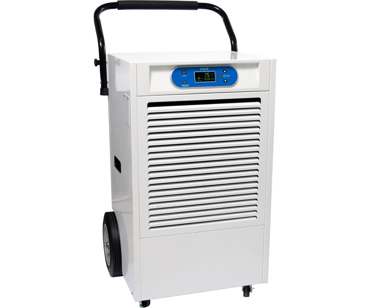 Active Air Dehumidifier, 190 Pint Active Air dehumidifiers provide control with excellent value! Active Air dehumidifiers are designed to provide optimal humidity control in your growing environment. The Active Air AADHC1802P dehumidifier is capable of removing 190 pints of moisture in a 24 hour period at 86°F, 80% RH. The evaporator inside the unit has been redesigned for improved performance. All models include an automatic restart feature to maintain settings and allow the unit to be used with external humidity controllers. Active Air dehumidifiers provide high performance, reliability, and precise digital control where you need it most. Features: Built to last with heavy duty, durable powder coated metal casing and a heavy duty compressor Built-in defrost system engages at 32°F, increasing efficiency by reducing defrost time Easy-to-use digital display panel Removable filter for easy cleaning 10 foot drain hose Automatic restart allows unit to be used with humidity controllers Casters for easy movement Effective Area: Up to 1290 sq ft at 10' ceiling height or 12,900 cu ft H2O Removal: Up to 190 pints (86°F, 80% RH), up to 120 pints (80°F, 60% RH) Temp Range: 41°F–95°F Power: 1350W/11.3A Supply Voltage: 115V/60Hz Refrigerant: R410A/27.5Oz Dimensions: 21.5 L x 22 W x 39 H Weight: 121lbs