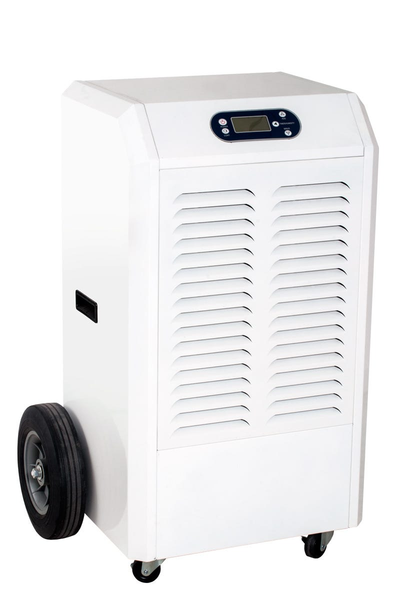 Active Air Commercial 180 Pint Dehumidifier *DISCONTINUED* This item has been discontinued, Please try our selection of Dehumidifiers for an alternative. Active Air Commercial Dehumidifiers are designed to provide optimal humidity control in your growing environment. Choose from three models, all of which provide high performance, reliability, and precise digital control where you need it most. Automatic restart allows unit to be used with humidity controllers Easy-to-use digital display panel Removable filter for easy cleaning Built to last with heavy duty, durable powder coated metal casing and a heavy duty compressor Built-in defrost system engages at 32°F, increasing efficiency by reducing defrost time Casters or wheels for easy movement 4 ft drain hose Temp Range: 41°F - 95°F H2O Removal*: Up to 180 pints Power: 1350 W / 11.3 A Supply Voltage: 120 V / 60 Hz Refrigerant: R410A Dimensions: 36.25 H x 19 W x 20 D *24 hrs at 86°F, 80% RH