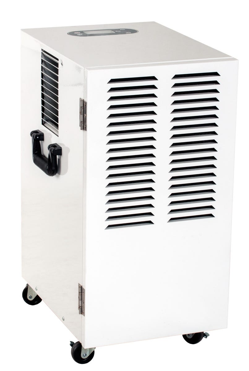 Active Air Commercial 100 Pint Dehumidifier Active Air Commercial Dehumidifiers are designed to provide optimal humidity control in your growing environment. Choose from three models, all of which provide high performance, reliability, and precise digital control where you need it most. Automatic restart allows unit to be used with humidity controllers Removable filter for easy cleaning Built to last with heavy duty, durable powder coated metal casing and a heavy duty compressor Built-in defrost system engages at 32°F, increasing efficiency by reducing defrost time Casters or wheels for easy movement 4 ft drain hose Temp Range: 41°F - 95°F H2O Removal*: Up to 100 pints Power: 770 W / 6.4 A Supply Voltage: 120 V / 60 Hz Refrigerant: R410A Dimensions: 23 H x 13.75 W x 16.75 D *24 hrs at 86°F, 80% RH