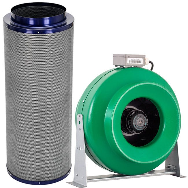 "Active Air - 12"" Inline Duct Fan + Carbon Filter Combo (12x39)"