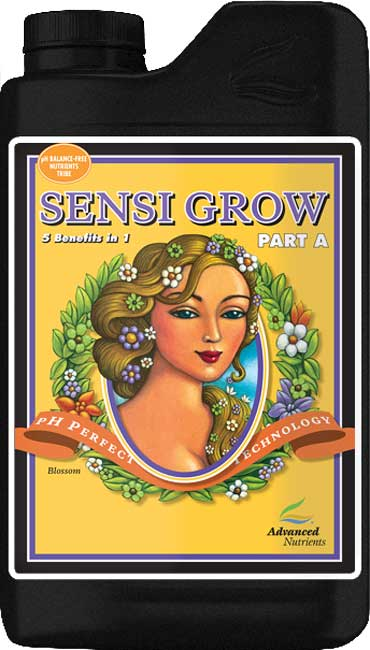 Advanced Nutrients - Sensi Grow A - pH Perfect Sensi A & B base nutrients are easy to measure because there are only two components and have their nutrient ratios based on thousands of test gardens and research. Both Sensi A & B base nutrients contain value-added components that will enhance the performance of any type of garden, and include: Grandma Enggy's F-1 (fulvic acid) Grandma Enggy's H-2 (humic acid) Advanced Nutrients Amino Acid Complex Wet Betty (non-ionic-surfactant) The combination of the pH Perfect Technology, simplified mixing rates, and level of chelation in the balanced nutrient ratios ensure that crops always have access to the highest level of nutrition and vitality boosters as possible and; Promotes Consistently heavy yields Pharmaceutical-grade precursors, reagents and chelators Proteinate forms of micronutrients Ensures all nutrients are available in a solubilized state Ensures balanced plant nutrition across a wide range of pH and temperatures Growers using the pH Perfect Nutrient Line will not have to worry about pH in their nutrient solutions, because the new formulas are able to adjust the pH to optimal pH range automatically! Combining a perfect pH level with these cutting edge chelates has growers reporting back with a new standard in yield expectations. As with all liquid fertilizers, we recommend shaking Sensi Grow before use. For root-zone feeding, pour equal portions of Sensi Grow Part A and Part B until the desired nutrient strength is attained. You can use Sensi Grow on its own or in combination with other products. With pH perfect technology, you will completely eliminate checking your pH forever! As long as your water being used falls between 4.5 and 8.5 pH (which is pretty much everyone's water) - this technology will adjust your pH for you, and keep it buffered throughout your plants growth phase! Guaranteed Analysis: Total Nitrogen - 2.50% (0.10% Ammoniacal, 1.00% Nitrate, and 1.40% Water Soluble Nitrogen) Available Phosphate - 
