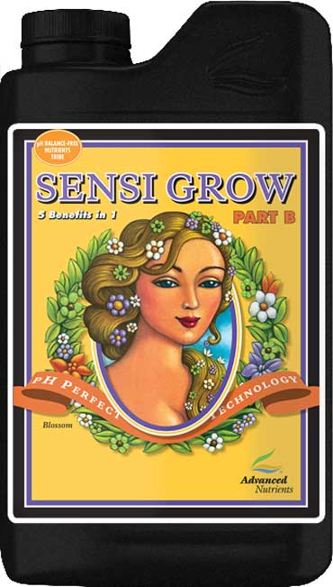 Advanced Nutrients - Sensi Grow B - pH Perfect Sensi A & B base nutrients are easy to measure because there are only two components and have their nutrient ratios based on thousands of test gardens and research. Both Sensi A & B base nutrients contain value-added components that will enhance the performance of any type of garden, and include: Grandma Enggy's F-1 (fulvic acid) Grandma Enggy's H-2 (humic acid) Advanced Nutrients Amino Acid Complex Wet Betty (non-ionic-surfactant) The combination of the pH Perfect Technology, simplified mixing rates, and level of chelation in the balanced nutrient ratios ensure that crops always have access to the highest level of nutrition and vitality boosters as possible and; Promotes Consistently heavy yields Pharmaceutical-grade precursors, reagents and chelators Proteinate forms of micronutrients Ensures all nutrients are available in a solubilized state Ensures balanced plant nutrition across a wide range of pH and temperatures Growers using the pH Perfect Nutrient Line will not have to worry about pH in their nutrient solutions, because the new formulas are able to adjust the pH to optimal pH range automatically! Combining a perfect pH level with these cutting edge chelates has growers reporting back with a new standard in yield expectations. As with all liquid fertilizers, we recommend shaking Sensi Grow before use. For root-zone feeding, pour equal portions of Sensi Grow Part A and Part B until the desired nutrient strength is attained. You can use Sensi Grow on its own or in combination with other products. With pH perfect technology, you will completely eliminate checking your pH forever! As long as your water being used falls between 4.5 and 8.5 pH (which is pretty much everyone's water) - this technology will adjust your pH for you, and keep it buffered throughout your plants growth phase! Guaranteed Analysis: Total Nitrogen - 2.50% (0.10% Ammoniacal, 1.00% Nitrate, and 1.40% Water Soluble Nitrogen) Available Phosphate - 