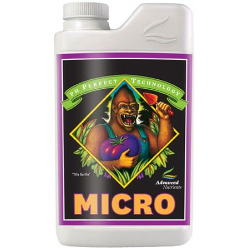 Advanced Nutrients - Micro - pH Perfect 3 Part pH Perfect Micro has been specially designed for use with all hydroponics, growing mediums. pH Perfect Micro has been developed for use with any and all hydroponic, aeroponic, drip irrigation, NFT, flood and drain and continuous liquid feed growing systems. Grow, Micro, and Bloom base nutrients are for growers accustomed to using three-part nutrients. Advanced Nutrients™ has refined and developed the most full spectrum threepart nutrient package available to growers The combination of the pH Perfect™ Technology, simplified mixing rates and level of chelation in the balanced nutrient ratios ensure that crops always have access to the highest level of nutrition and vitality boosters possible Growers using the pH Perfect™ Technology nutrient technology will not have to worry about pH in their nutrient solutions, because the new formulas are able to adjust the pH to the optimal range automatically. Combining an optimal pH level with these cutting edge chelates has growers reporting back with a new standard in yield expectations.