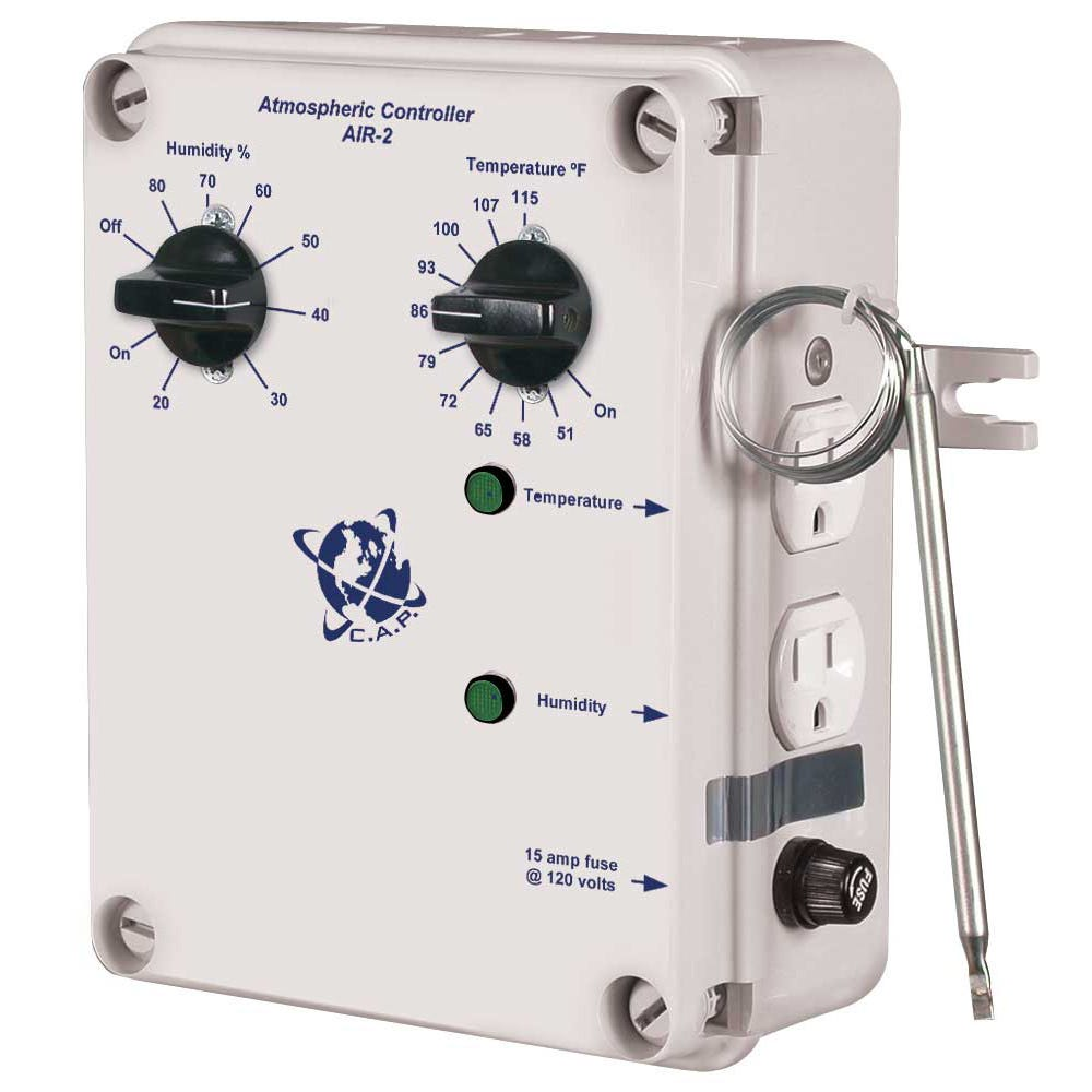 C.A.P. AIR-2 Independent Temp/Humidity Split Outlet *DISCONTINUED* This item has been discontinued. For more assistance, contact us at staff@growershouse.com. The C.A.P. AIR-2 has the same features as the AIR-1 with the exception of separate temperature and humidity outlets. This allows you to control the temperature and humidity independently. Once you have connected your temperature control device (air conditioner, fan, etc) and a dehumidifier to the C.A.P. AIR-2, your desired temperature and humidity are automatically maintained. Unique Features: Lowers temperature and humidity by turning on an exhaust fan or AC unit Humidity is controlled independently of temperature Indicator lights verify that equipment is operating Includes 2 outlets to connect a cooling device (fan or AC) and a dehumidifier External temperature probe is accurate & reliable C.A.P. Air 2 Instructions PDF