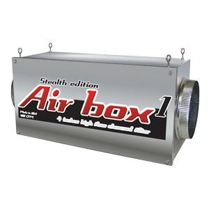"""Air Box 1 Stealth Edition 500 CFM 4in Flanges Special Order Note:Returns for Air Boxes not used are 14 days from the time of delivery. There is a 30% restocking fee and must pay for return shipping. This is the Air Box manufacturers return policy. Air Boxes are inline carbon filters. Air Boxes make it so that you can install your carbon filter in-line with your ventilation connecting lights and fans. The inside of the Air Box carbon filters clean air of dust, foreign particulates, organic compounds, spores, and odors. The heavy-duty Air Box 1 will successfully eliminates odors for up to 18 months. Carbon filter should be changed often; please replace filters every 18-24 months (all of them) for best results. Use a fan near 500 CFM or less with this Air Box 1 inline carbon fitler. Do not use a fan with more than 600 CFM. These activated carbon granules are an absorbent with well developed pore structure allowing for a range absorbent retention. The high hardness number allows for a minimal granular breakage and the kindling point of this activated carbon is usually high. This activated carbon is particularly well suited for removal of organic contaminants and precious metal recovery. Easy to install, easy to use, easy to maintain Adapts to any duct/filtering system Replaceable high-flow carbon filters 100% premium virgin coconut charcoal 100% airtight continuous worry-free operation 100% of the filter surface area is used 1000 to 3400 CFM (available in 6"""", 8"""", 10"""", 12"""") For commercial or residential use Made in the United States Air Box 1 Stealth Edition 400 CFM 4  Flanges"""