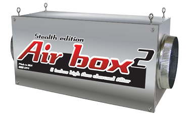 """Air Box 2 Stealth Edition 800 CFM 6in Flanges Special Order Note:Returns for Air Boxes not used are 14 days from the time of delivery. There is a 30% restocking fee and must pay for return shipping. This is the Air Box manufacturers return policy. Air Boxes are inline carbon filters. Air Boxes make it so that you can install your carbon filter in-line with your ventilation connecting lights and fans. The inside of the Air Box carbon filters clean air of dust, foreign particulates, organic compounds, spores, and odors. The heavy-duty Air Box 2 will successfully eliminates odors for up to 18 months. Carbon filter should be changed often; please replace filters every 18-24 months (all of them) for best results. Use a fan near 800 CFM or less with this Air Box 2 inline carbon fitler. Do not use a fan with more than 800 CFM. Easy to install, easy to use, easy to maintain Adapts to any duct/filtering system Replaceable high-flow carbon filters 100% premium virgin coconut charcoal 100% airtight, continuous worry-free operation 100% of the filter surface area is used 800 to 3400 CFM (available in 6"""", 8"""", 10"""", 12"""") For commercial or residential use Made in the United States Air Box 2 Stealth Edition 1000 CFM 6  Flanges"""