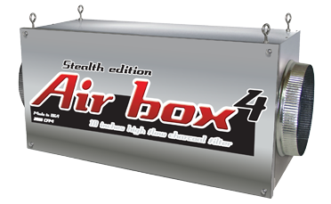 """Air Box 4 Stealth Edition 2000 CFM 10in Flanges Special Order Note:Returns for Air Boxes not used are 14 days from the time of delivery. There is a 30% restocking fee and must pay for return shipping. This is the Air Box manufacturers return policy. Air Boxes are inline carbon filters. Air Boxes make it so that you can install your carbon filter in-line with your ventilation connecting lights and fans. The inside of the Air Box carbon filters clean air of dust, foreign particulates, organic compounds, spores, and odors. The heavy-duty Air Box 4 will successfully eliminates odors for up to 18 months. Carbon filter should be changed often; please replace filters every 18-24 months (all of them) for best results. Use a fan near 2000 CFM or less with this Air Box 4 inline carbon fitler. Do not use a fan with more than 2200 CFM. Easy to install, easy to use, easy to maintain Adapts to any duct/filtering system Replaceable high-flow carbon filters 100% premium virgin coconut charcoal 100% airtight, continuous worry-free operation 100% of the filter surface area is used 1000 to 3400 CFM (available in 6"""", 8"""", 10"""", 12"""") For commercial or residential use Made in the United States Air Box 4 Stealth Edition 2000 CFM 10  Flanges"""