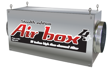 """Air Box 4+ Stealth Edition 3500 CFM 12'' Flanges Special Order Note:Returns for Air Boxes not used are 14 days from the time of delivery. There is a 30% restocking fee and must pay for return shipping. This is the Air Box manufacturers return policy. Air Boxes are inline carbon filters. Air Boxes make it so that you can install your carbon filter in-line with your ventilation connecting lights and fans. The inside of the Air Box carbon filters clean air of dust, foreign particulates, organic compounds, spores, and odors. The heavy-duty Air Box 4+ will successfully eliminates odors for up to 18 months. Carbon filter should be changed often; please replace filters every 18-24 months (all of them) for best results. Use a fan near 4000 CFM or less with this Air Box 4+ inline carbon fitler. Do not use a fan with more than 4000 CFM. Easy to install, easy to use, easy to maintain Adapts to any duct/filtering system Replaceable high-flow carbon filters 100% premium virgin coconut charcoal 100% airtight, continuous worry-free operation 100% of the filter surface area is used 1000 to 3400 CFM (available in 6"""", 8"""", 10"""", 12"""") For commercial or residential use Made in the United States Air Box 4+ Stealth Edition 3500 CFM 12  Flanges"""