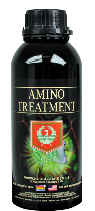 House & Garden - Amino Treatment After many years of research House & Garden Amino Treatment, sets off nothing less than a sensation worldwide. House & Garden Amino Treatment is a revolutionary new product that brings noticeably higher fruiting yields, in terms of quality as well as quantity. House & Garden Amino Treatment also contains a unique natural growth and flowering stimulator from an extract taken from plant seeds. Plants always add a buffer to their seeds, a kind of plant base with-quality enzymes and amino acids which stimulate root development, growth and fruit formation in a powerful way. So, the use of House & Garden Amino Treatment results in better nutrient distribution in the leaves, a higher photosynthesis ratio, stronger stalks, increased root activity, better and higher fruit production and a higher sugar content in the fruit. See it and believe it! Amino Treatment, for profuse growth and flowering. APPLICATION Soil / Hydro / Coco / Aqua. For optimum Root Development, Growth and Flowering DOSAGE 20 – 100ml: 100L water Give Amino Treatment with each watering until 3 weeks before harvest. First add Basic Nutrition, followed by acidification. Apply Amino Treatment and any stimulators, such as Roots Excelurator. House & Garden Nutrient Calculator