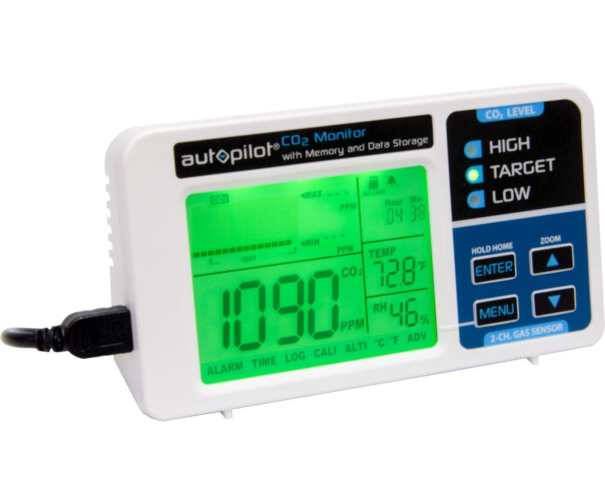 Autopilot Desktop CO2 Monitor with Memory and Data Storage Records and Exports 1 Year of Environmental Data! Developed to detect the presence of CO2 and to monitor temperature & relative humidity in ambient air, this device is smart, compact and easy to use. Its high quality LCD display boasts a green back-lit screen for easy nighttime viewing, and it features independent CO2, RH and temperature readings. In addition, the Autopilot Desktop CO2 Monitor comes equipped with a built-in microSD card port that automatically records all environmental data to an included microSD card. Assess and improve your grow room climate with Autopilot's precision monitor with exportable memory. Records and Exports 1 Year of Environmental Data! Measures & records CO2 levels, room temperature, and relative humidity Continuously records data to the included microSD card every 5 seconds Exported data is converted to Microsoft Excel file format for easy review Micro USB power socket, Micro USB-to-USB power cord, and USB power adapter Max and Min readings of CO2, Temp and RH are shown on screen at each Zoom Level Units screen displays 17 sets of data at each Zoom Level: 1 minute, 1 hour, 24 hours and 7 days
